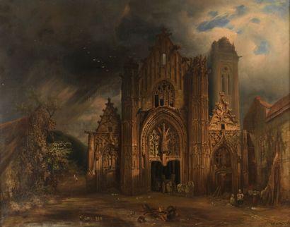 August MARTIN (Allemagne 1837 - 1920)  Église...