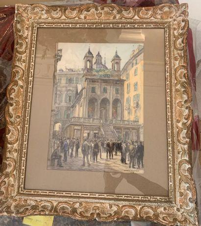 Gabriel ROUSSEAU  (Lyon 1876 - Issy les Moulineaux 1951)  Animation devant l'église...