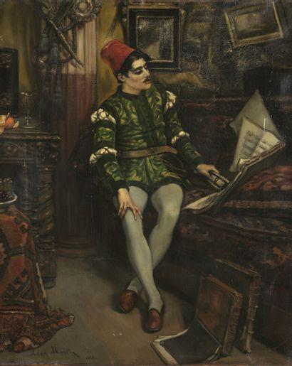 Léon MARTIN (1837-1861) Le Page déchiffrant une partition de musique Huile sur toile,...