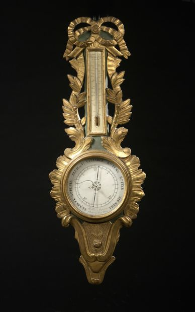 Baromètre formant thermomètre en bois peinte...
