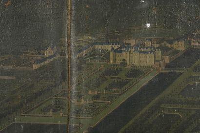 Ecole FLAMANDE vers 1670  Vue de château et de son parc  Toile  170 x 208 cm  Accidents...