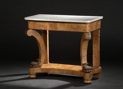 Table console en loupe d'orme le dessus de...