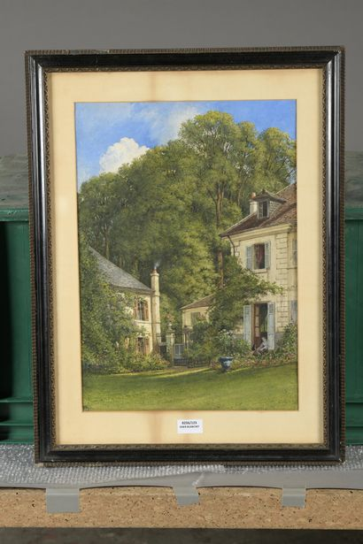William WYLD (Londres 1806 - Paris 1889)  Maison dans un parc  Aquarelle, signée...