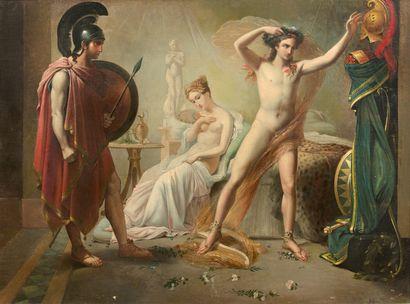 E. VERNAZ  (Actif en France au XIXème siècle)  Hector reprochant à Pâris son inaction...