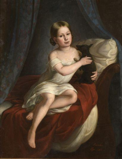 André REVERCHON (Lyon 1808 - 1882)  Portrait...