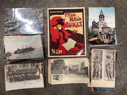 Une boîte de cartes françaises diverses dont...