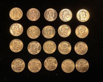 20 pièces de 20 francs français en or, u...