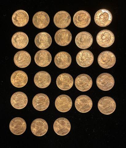 28 pièces de 20 francs suisse en or, usu...