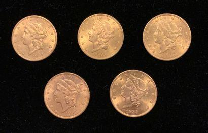 5 pièces de 20 dollars américain en or, ...