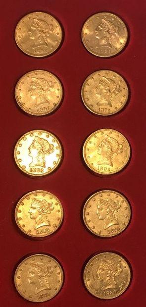 10 pièces de 10 dollars américain en or,...