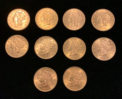 10 pièces de 20 dollars américain en or,...