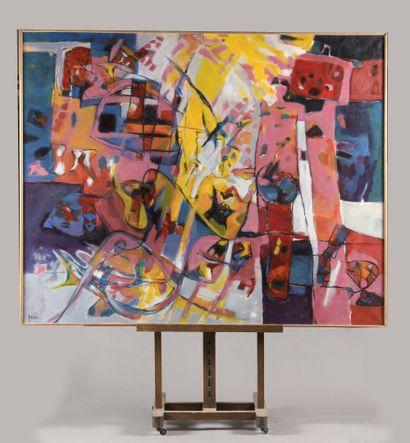 ROSSO Eliane (1928-1994)  Studio 4 - Composition  Huile sur toile signée en bas...