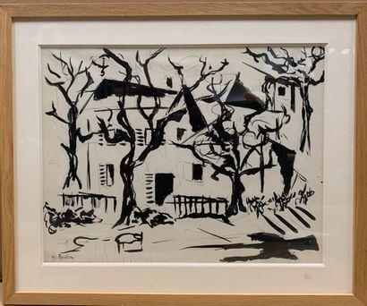BURTIN Marcel (1902-1979)  Maison sous les...