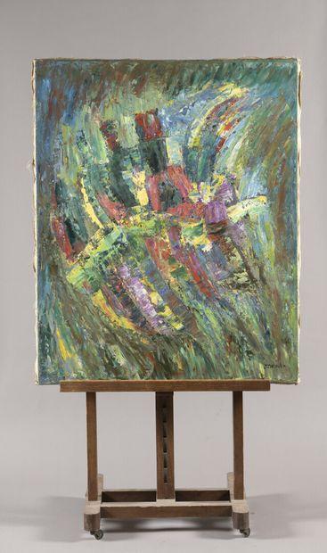 CHEVALIER Jacques (1924-1999)  Composition  Huile sur toile signée en bas à droite....