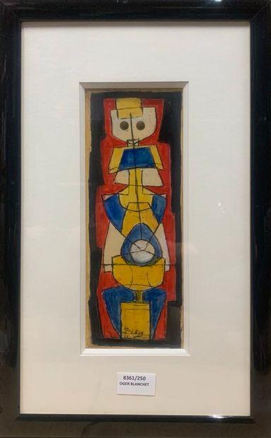 PRÉAUX Raymond (1916-1997)  Statuette  Gouache...