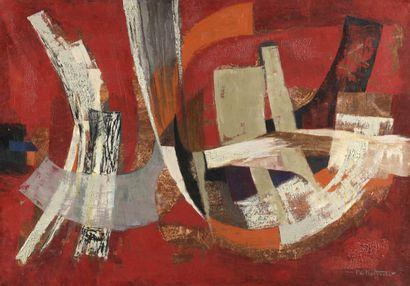 BERROETA Pierre de (1914-2004) Rythme  Huile sur toile signée et datée (19)65 en...