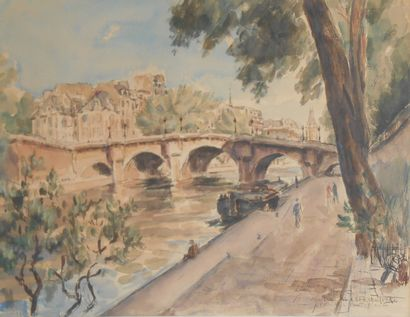 André MALTERRE  (Paris 1899 ca.1975)  Pont-Neuf...