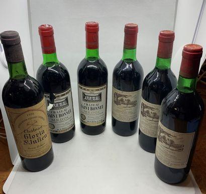12 bouteilles dont 2 Château CANTENAC-BROWN Grand Cru Classé Margaux 1992, étiquettes...