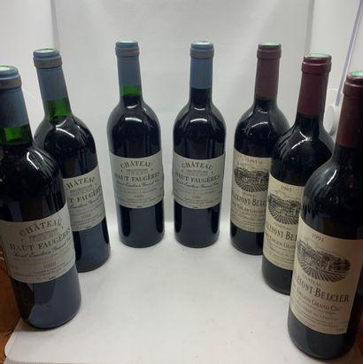 12 bouteilles dont 4 Château FAUGERES Saint-Emilion...