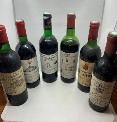 6 bouteilles dont 1 Château HAUT-MARBUZET...