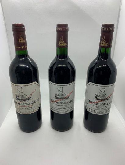 3 bouteilles de Château BEYCHEVELLE Saint-Julien,...