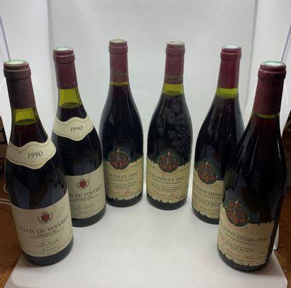 6 bouteilles dont 2 CLOS VOUGEOT GRAND CRU 1990 de Montreynaud, 1 légèrement bas,...