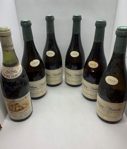 6 bouteilles dont 5 PULIGNY-MONTRACHET 1988...