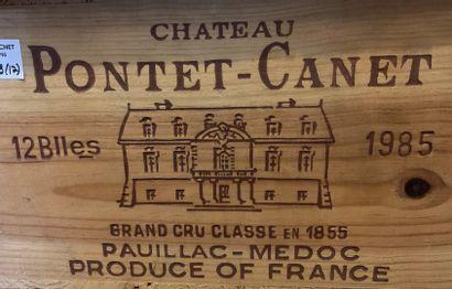 12 bouteilles de Château PONTET-CANET, Grand Cru Classé en 1855, Pauillac 1985 CBO,...