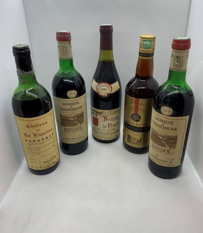 5 bouteilles dont 2 BANDOL 1978 du Domaine...
