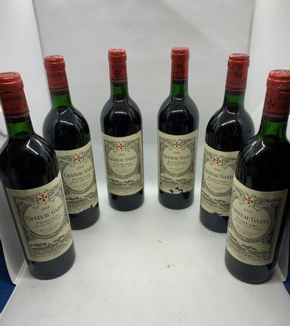 6 bouteilles de Château GAZIN Pomerol 1986,...