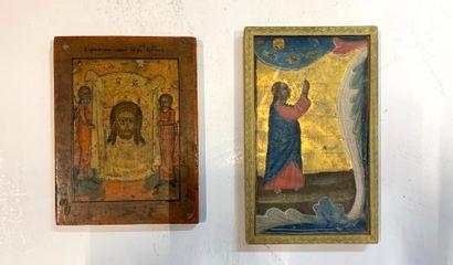 Deux petites icônes grecques :  Saint Suaire...