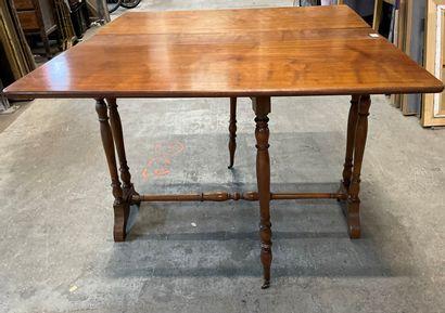 Table gate-leg en bois naturel  73 x 96 x...