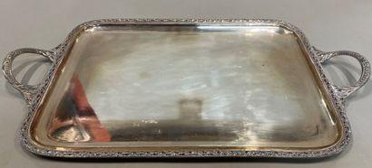 Plateau de service en métal argenté,  style...