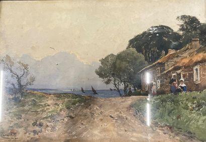 Paul LECOMTE (1842-1920)  Maison près de...