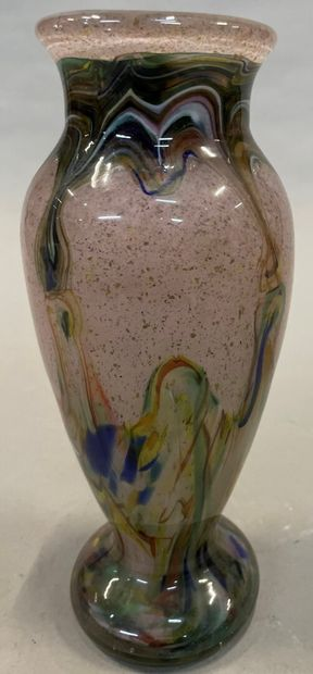 Vase en verre double couche à inclusions...