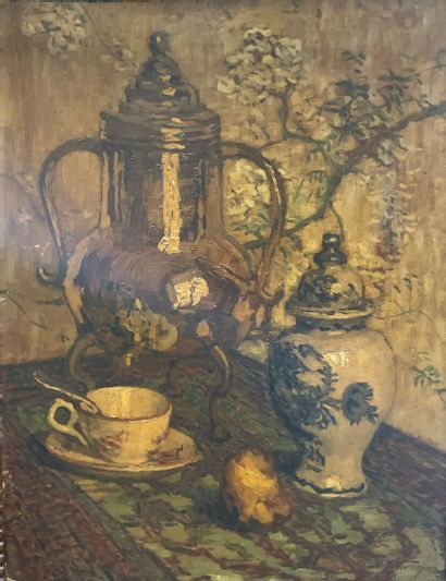 Ferdinand OLIVIER (1873-1959)  Samovar  Huile...
