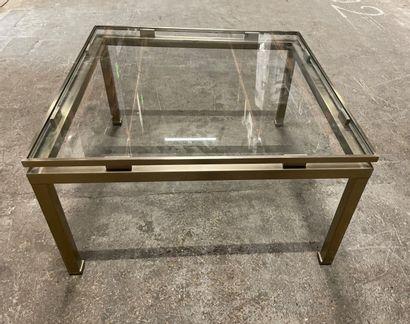 Table basse carrée en métal brossé attribué...
