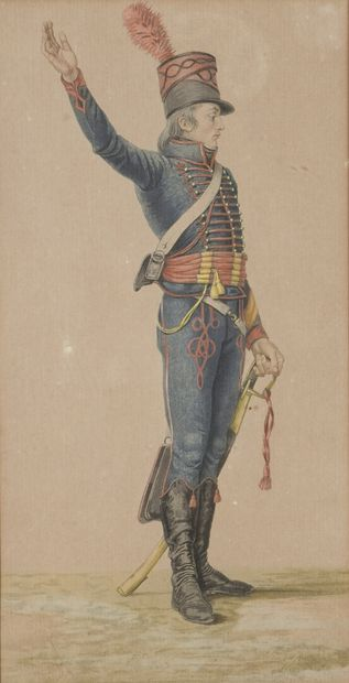"""""""Portrait of uniforms""""  Seven color engravings on paper.  Empire period.  H : between..."""