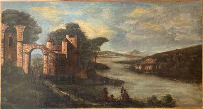 Ecole du XIXe siècle  Paysage de ruines au...