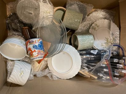Cases of dishes, glassware, carafes