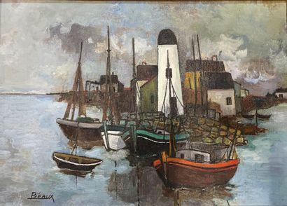 Raymond PREAUX (1916-1997)  Barques de pêche...