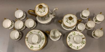 Porcelain tea and coffee set with ivy decoration.  Late 19th or early 20th cent...