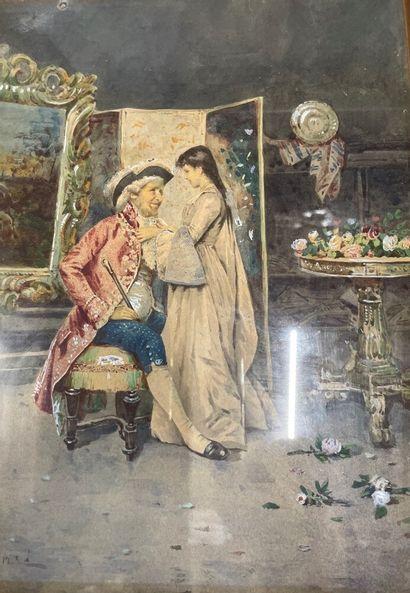 A. FOLIN  Couple dans un intérieur  Aquarelle...