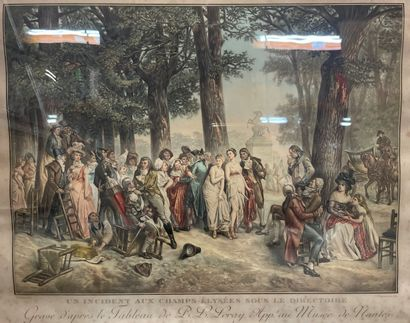 """""""An incident on the Champs Elysees during the Directoire"""".  Engraving after LERAY..."""