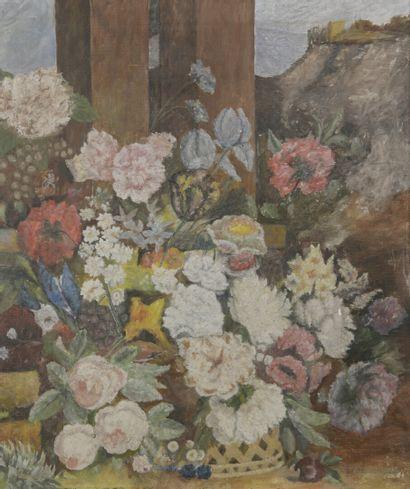 Ecole moderne  Bouquet de fleurs  Huile sur...
