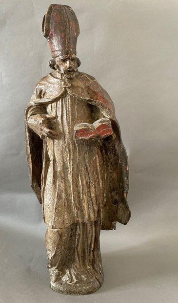 St Augustin  Sculpture en bois polychrome...