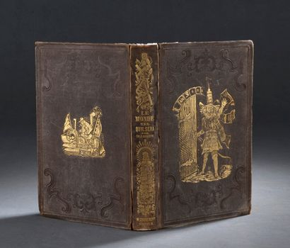 Box of romantic books from the 19th century, some with polychrome bindings