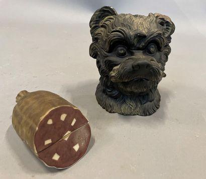 Pot à tabac en forme de tête de chien  H:...