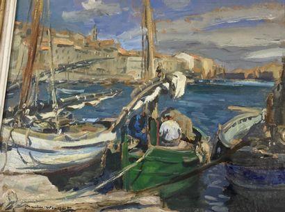 Marius WOULFART (1905-1991)  Bateaux au port...