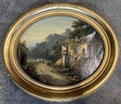 ECOLE ITALIENNE DU XIXème SIECLE  Paysage...